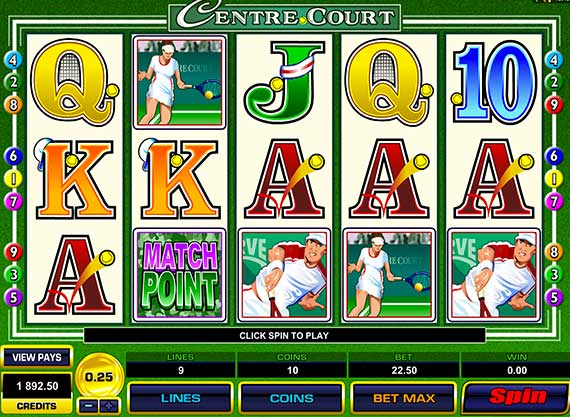 Centre Court Pokie Machine - Microgaming