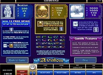 Avalon Free Spin features and bonuses