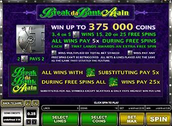 Break Da Bank Freespins