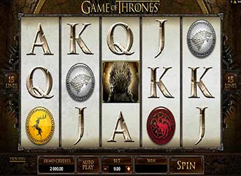 Game of Thrones pokie Main Screen