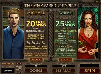 Chamber of Spins - 20 & 25 Free Spins