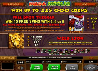 Free Spins on Mega Moolah