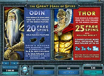 Great Hall of Spins odin thor bonus