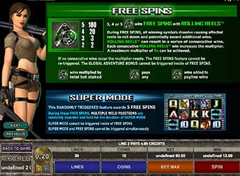 Tomb Raider Free Spin Feature