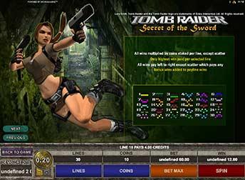 Tomb Raider 2 Winning Paylines